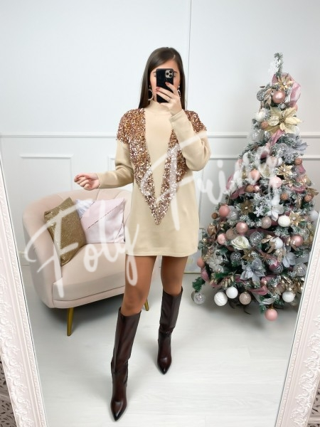 ROBE PULL SEQUINS ROSE GOLD