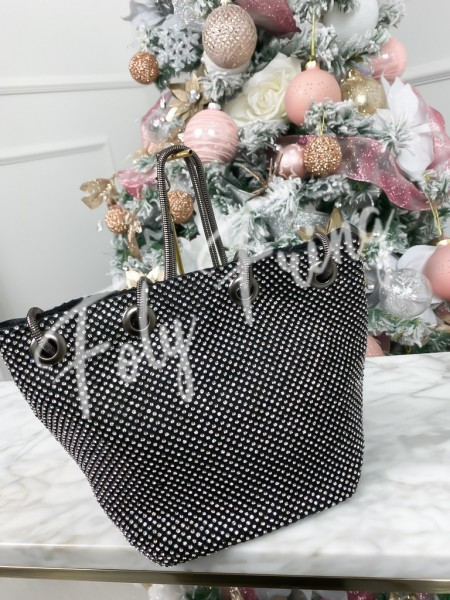 SAC BOURSE STRASS BLACK