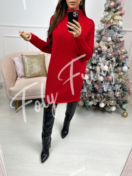 ROBE PULL COL MONTANT RED