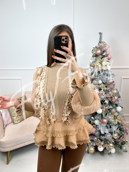 PULL AJOURE BRODERIE CAMEL
