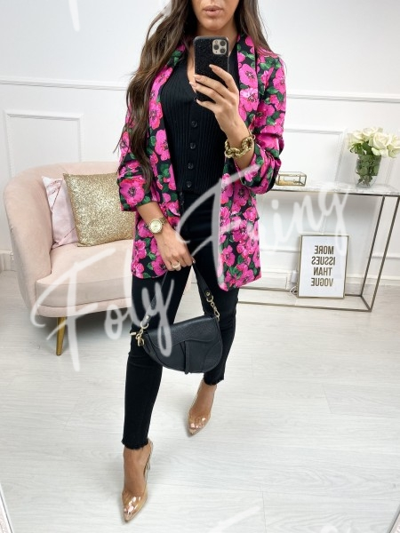 BLAZER MAXI FLOWERS BLACK &...