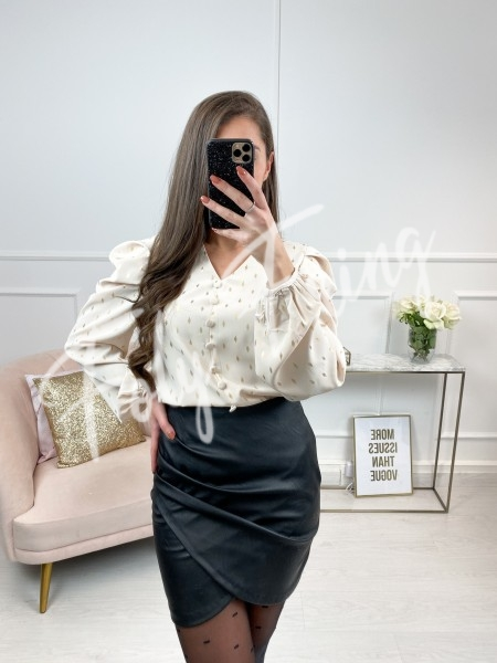 BLOUSE SATINE GOLD & NUDE