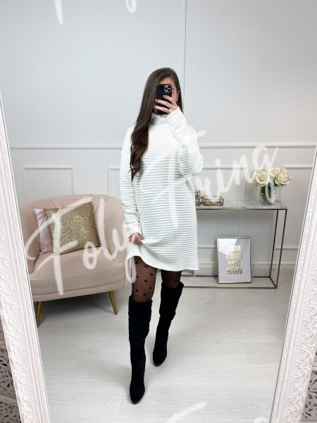 ROBE PULL COL MONTANT WHITE