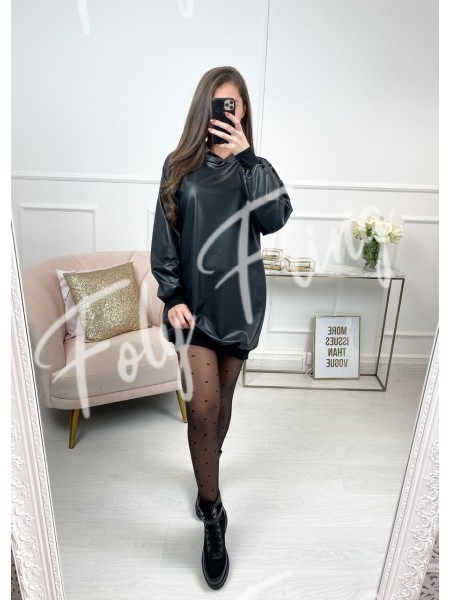 ROBE SWEAT SIMILI CUIR BLACK