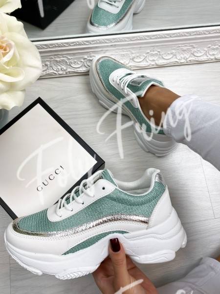 SNEAKERS SHINY MINT & SILVER