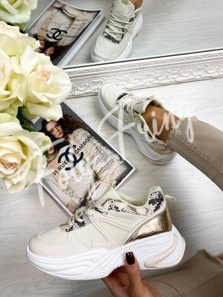 SNEAKERS PYTHON GOLD & NUDE