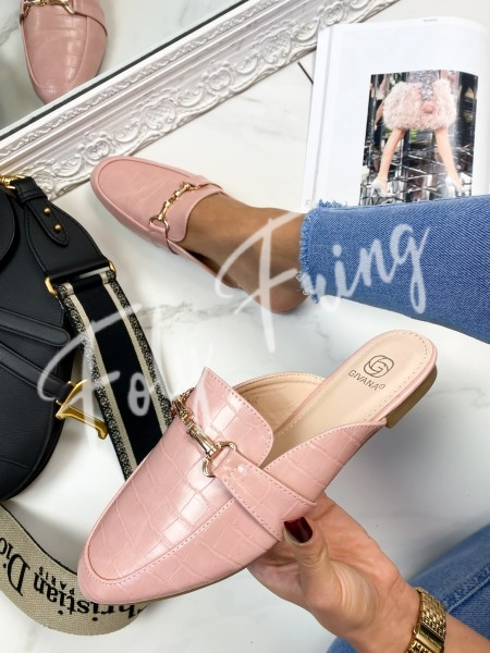 MULES CHAINE CROCO PINK