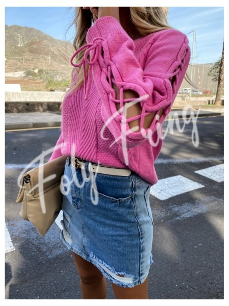 PULL FASHIONISTA LACE ME PINK