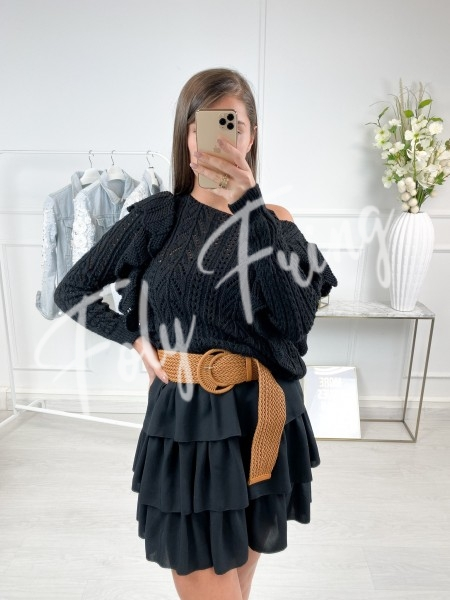 PULL AJOURE A VOLANTS BLACK