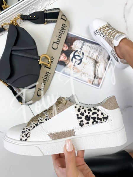 SNEAKERS LEOPARD & SHINY GOLD