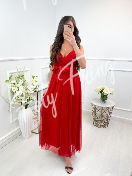 ROBE LONGUE TULLE RED