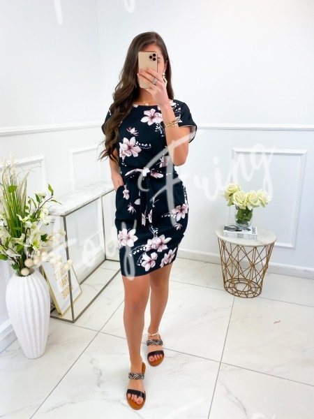 ROBE FLOWERS PINK A NOUER &...
