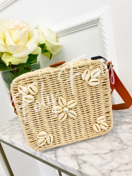 SAC CARRE SHELLS & PAILLE NUDE