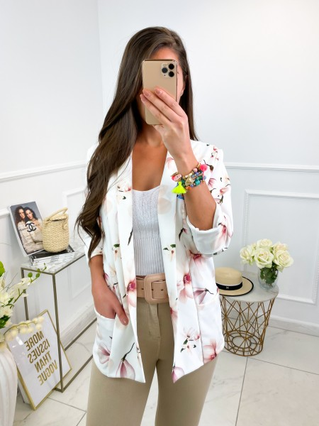 BLAZER POCHES FLOWERS WHITE...