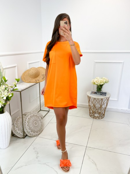 ROBE T-SHIRT POCHE ORANGE
