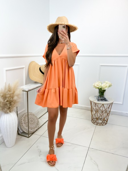 ROBE FLUIDE COL V ORANGE