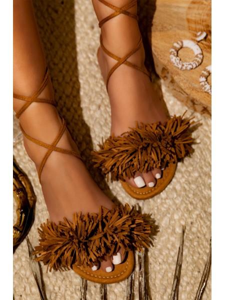 SANDALES FRANGES SUEDINE CAMEL