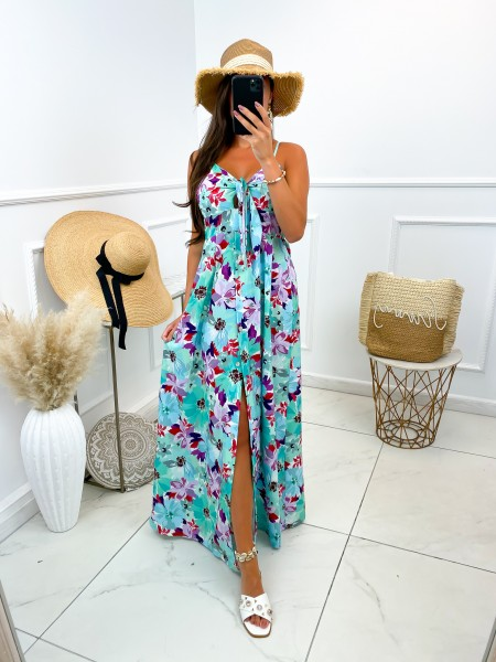 MAXI ROBE FLOWERS PINK &...