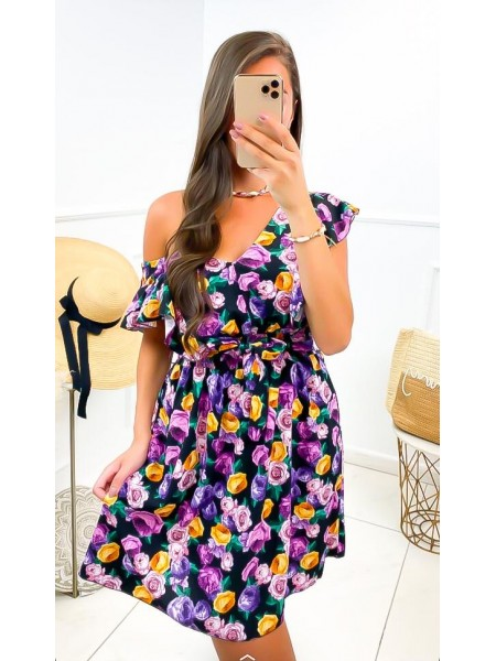 ROBE FLOWERS A NOUER BLACK...