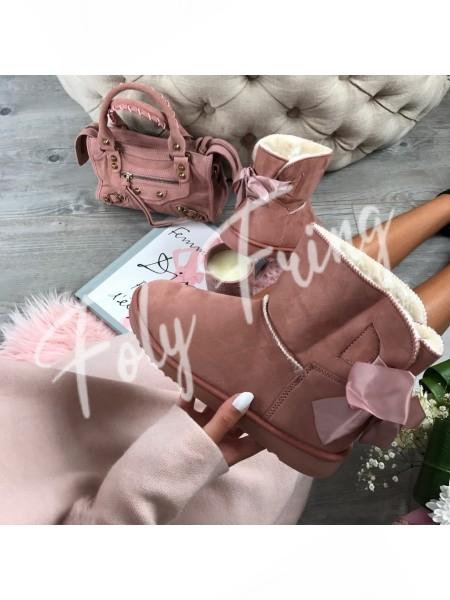 *** BOOTS FOURREES NOEUDS BABY PINK ****