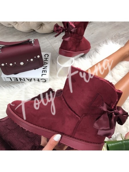 *** BOOTS FOURREES NOEUDS BABY BORDEAUX ****