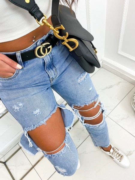 JEANS MOM FIT DESTROY...