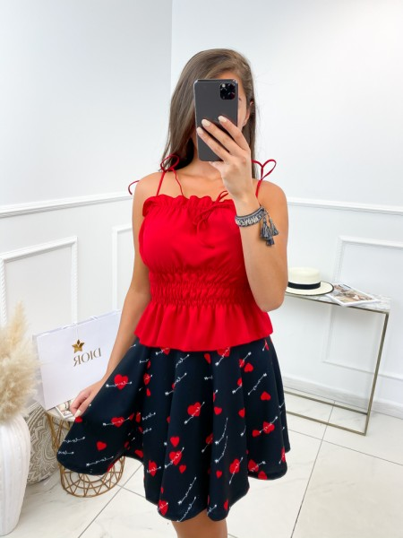 TOP A NOUER & SMOCK RED